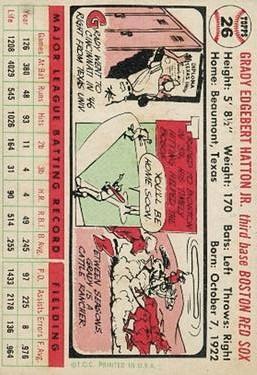 1956 Topps #26 Grady Hatton back image