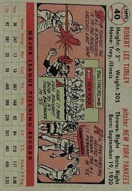 1956 Topps #40 Bob Turley back image