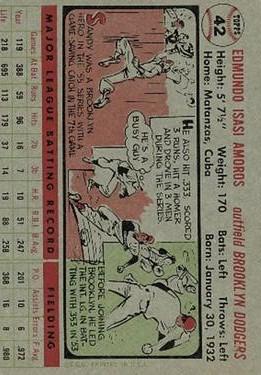 1956 Topps #42 Sandy Amoros back image