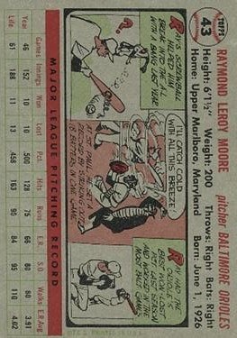 1956 Topps #43 Ray Moore back image