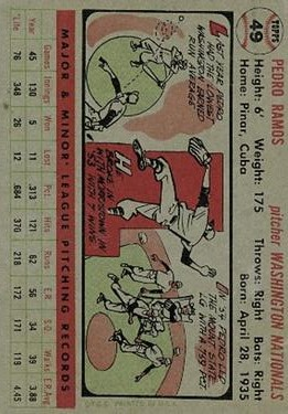 1956 Topps #49 Pedro Ramos RC back image
