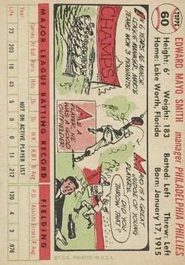 1956 Topps #60 Mayo Smith MG DP back image