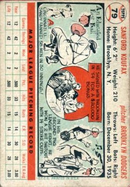 1956 Topps #79 Sandy Koufax back image