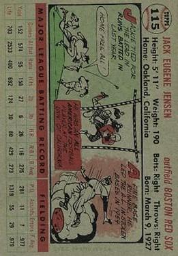 1956 Topps #115 Jackie Jensen back image