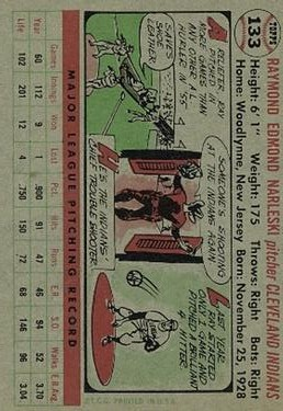 1956 Topps #133 Ray Narleski back image