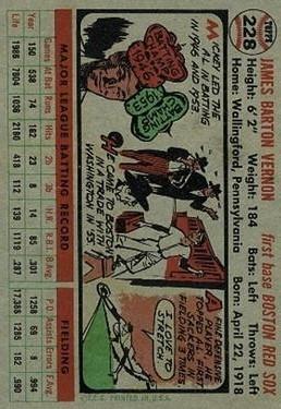 1956 Topps #228 Mickey Vernon back image