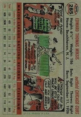 1956 Topps #285 Eddie Miksis back image