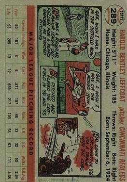 1956 Topps #289 Hal Jeffcoat back image