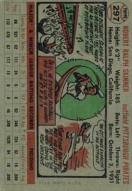 1956 Topps #297 Bob Skinner back image