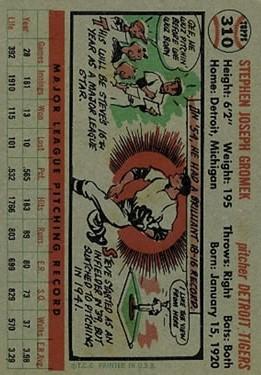 1956 Topps #310 Steve Gromek back image