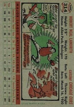 1956 Topps #314 Hobie Landrith back image
