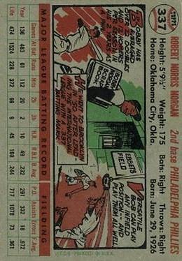 1956 Topps #337 Bobby Morgan back image