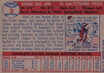 1957 Topps #3 Dale Long back image
