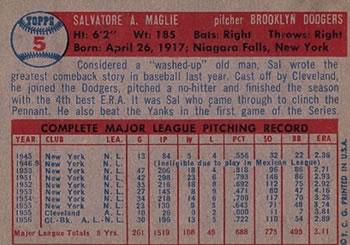 1957 Topps #5 Sal Maglie back image