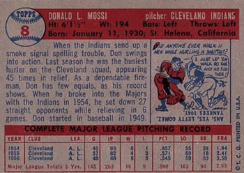 1957 Topps #8 Don Mossi back image