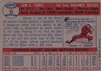 1957 Topps #9 Johnny Temple back image