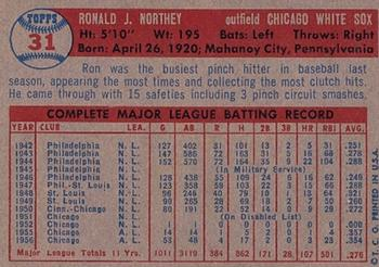 1957 Topps #31 Ron Northey back image