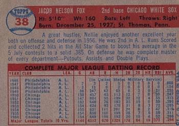 1957 Topps #38 Nellie Fox back image