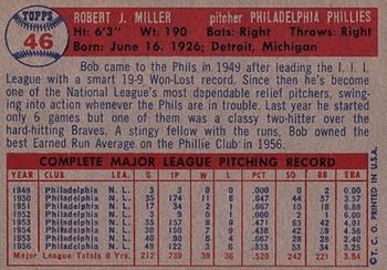 1957 Topps #46 Robert J. Miller back image