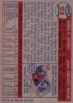 1957 Topps #93 Hal Jeffcoat back image