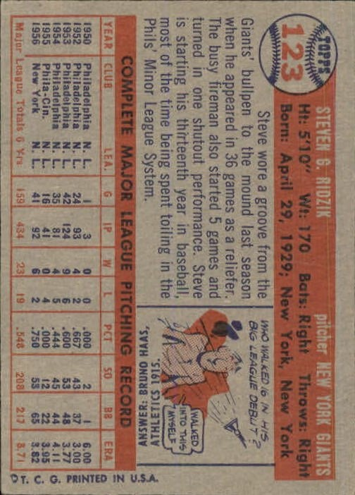 1957 Topps #123 Steve Ridzik back image
