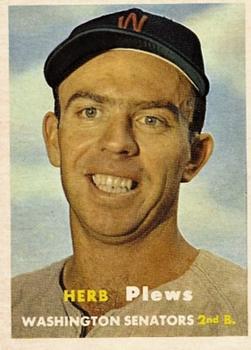 1957 Topps #169 Herb Plews RC