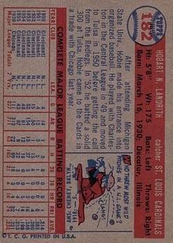 1957 Topps #182 Hobie Landrith back image