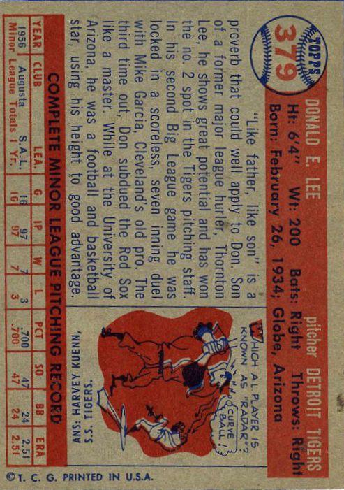 1957 Topps #202 Dick Gernert back image