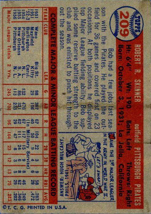 1957 Topps #209 Bob Skinner back image