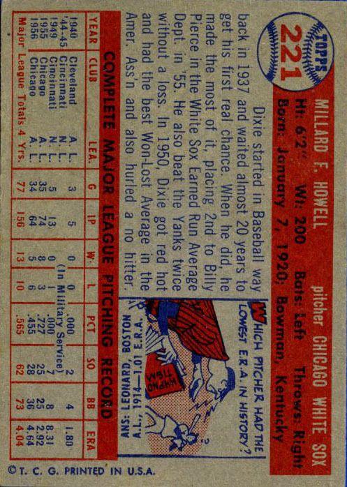 1957 Topps #221 Dixie Howell back image