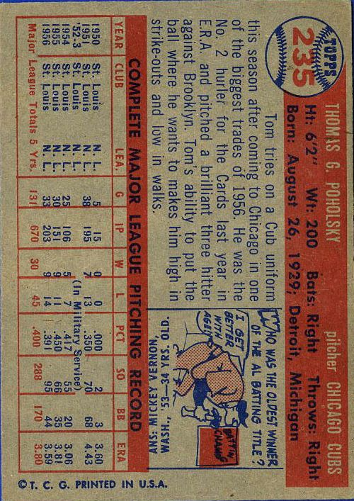 1957 Topps #235 Tom Poholsky back image