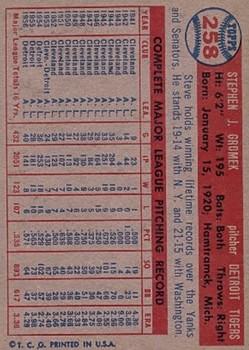 1957 Topps #258 Steve Gromek back image