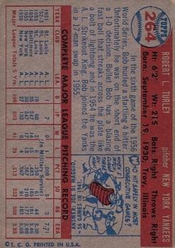 1957 Topps #264 Bob Turley back image