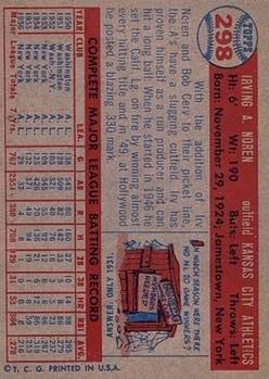 1957 Topps #298 Irv Noren DP back image