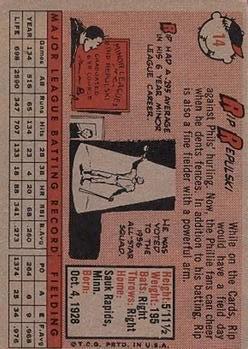 1958 Topps #14 Rip Repulski back image