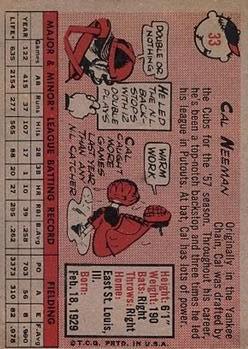1958 Topps #33A Cal Neeman back image