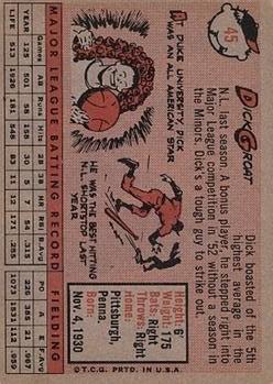 1958 Topps #45 Dick Groat back image