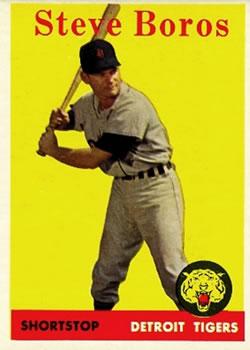 1958 Topps #81A Steve Boros RC