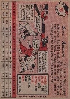 1958 Topps #93 Sandy Amoros back image