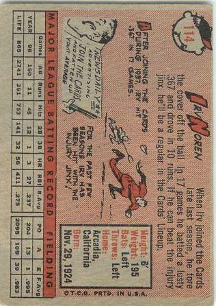 1958 Topps #114 Irv Noren back image