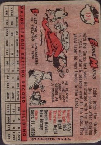 1958 Topps #121 Eddie Miksis back image