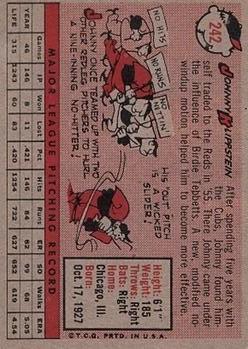 1958 Topps #242 Johnny Klippstein back image