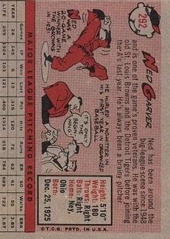 1958 Topps #292 Ned Garver back image