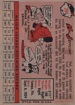 1958 Topps #294 Hal Jeffcoat back image