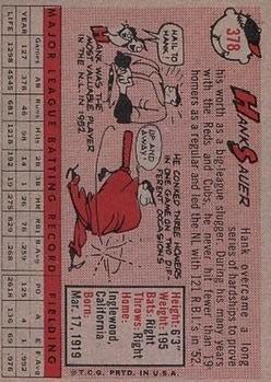 1958 Topps #378 Hank Sauer back image