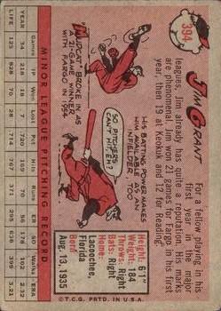 1958 Topps #394 Jim Grant RC back image