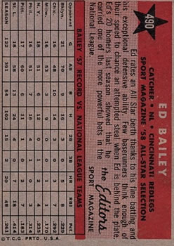 1958 Topps #490 Ed Bailey AS back image