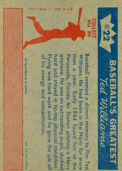 1959 Fleer Ted Williams #22 1944 Ted Solos back image