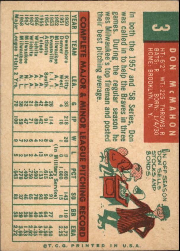 1959 Topps #3 Don McMahon back image