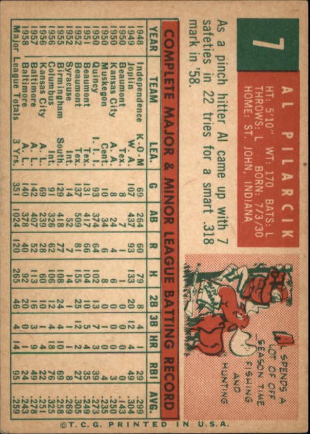 1959 Topps #7 Al Pilarcik back image